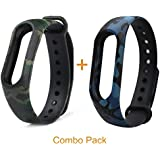 Epaal Camouflage Pattern Watch Strap for Xiaomi Mi Band HRX & Mi Band 2 (Army Blue + Army Green)