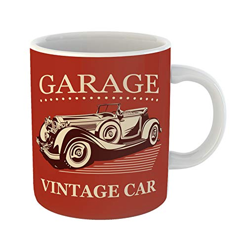 (Emvency Funny Coffee Mug Automobile Vintage Car Garage Label 1930S 1940S 1950S Antique Auto Automotive 11 Oz Ceramic Coffee Mug Tea Cup Best Gift Or Souvenir)