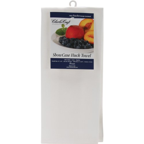 DMC HF6500-6750 Cotton Showcase Huck Towel, White, 14 Count (Hand Cross Towels Counted Stitch)