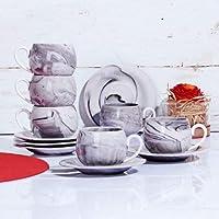 Kosova Porselen 6 Kişilik Mermer Gri Kahve Fincan Takımı MERMER-153