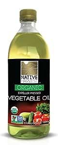 Native Harvest Organic Non-GMO Naturally Expeller Pressed Vegetable Oil, 1 Litre (33.8 FL OZ)