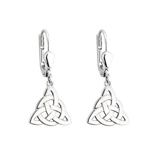Celtic Knot Earrings Sterling Silver Trinity Drop Irish Made