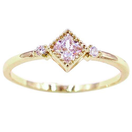 24k Princess Ring - Gieschen Jewelers 'Lora' 14K Yellow Gold-Plated CZ Princess-Cut Crystal Dainty Ring, Size 9