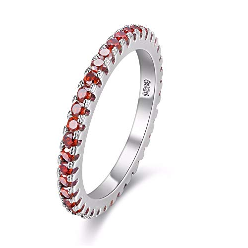 (Uloveido 2mm Silver Color Wedding Band Red Cubic Zirconia Eternity Stackable Engagement Ring with Simulated Ruby Birthstone Size 6 7 8 9 (Red, 8) Y115)