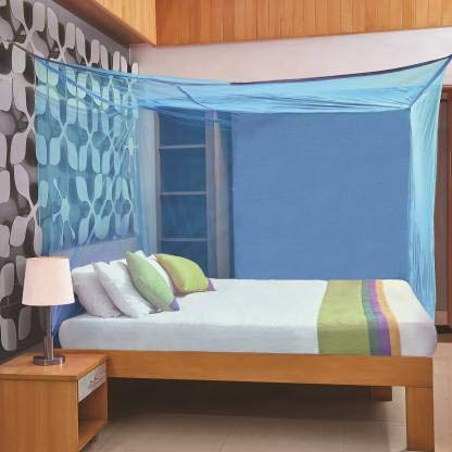 Divayanshi Blue Rectangular Double Bed Mosquito Net, 9 * 9 Insect Protection Net