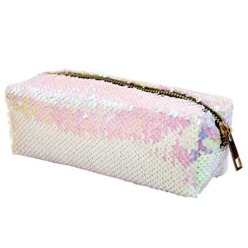 MHJY Mermaid Sequin Cosmetic Bag Magic Sequins Makeup Pouch Fashion Color Changing Makeup Bags DIY Reversible Sequins Handbag Glitter Pencil Case