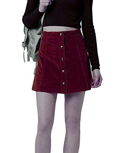 Joanna Women's Corduroy Button Closure Mini A-Line Skirt Burgundy M