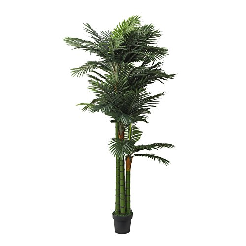 RUOPEI Artificial Palm Tree -6.5ft Artificial tree plant in Plastic Pot, Potted Fake Greenery Decoration with Bendable Branches for Home, Restaurant, Cafe or Office Decorating