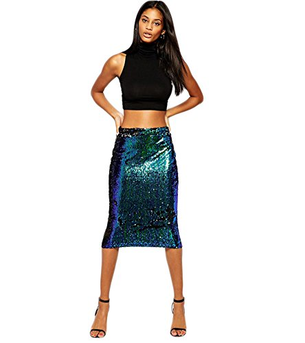 - Ussuperstar Women's Sexy Bodycon Pencil Sequins Midi Shiny Flare Skirts