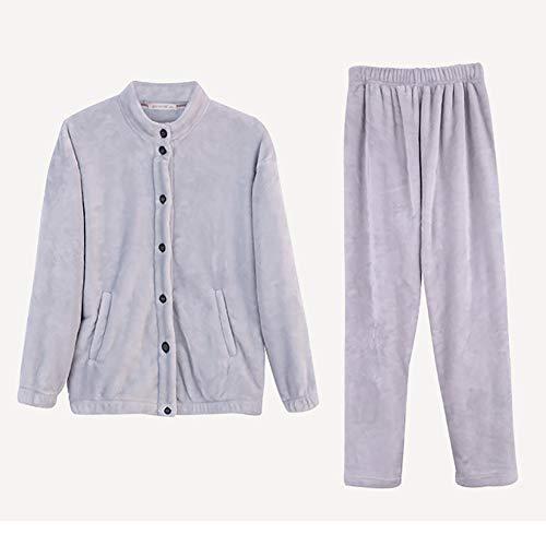 Domicilio Franela brown Vellón De Pijama Servicio Ropa Camisón Gray Damas l A Conjunto Cardigan Dormir IqzfC7w