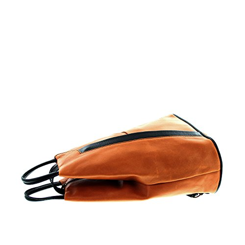 IO.IO.MIO leichter echt Leder Damenrucksack CityRucksack DayPack freie Farbwahl , 27-18x30x13 cm (B x H x T) Cognac/Schwarz