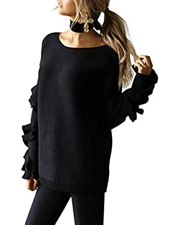 Simplee Apparel Womens Loose Crewneck Ruffles Long Sleeve Sweater Pullover Black  One Size
