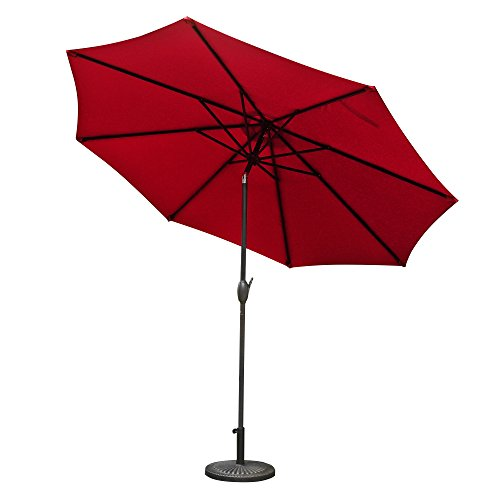 Aok Garden 10ft Antique Brown finish Market Outdoor Umbrella W/Crank system and tilt function with 220g PA coating Sunshade Wine Red For Sale