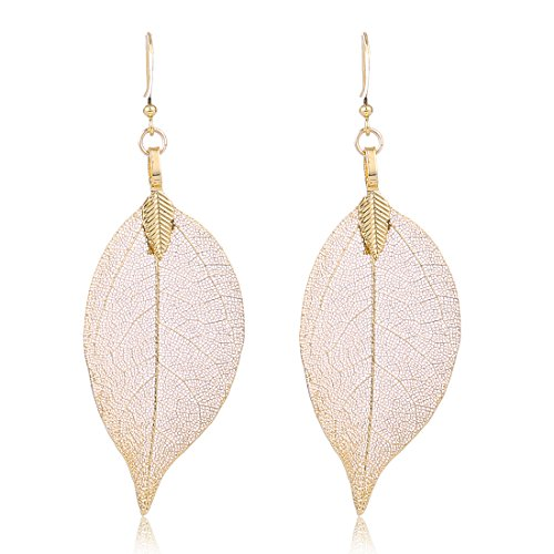 Gold Filigree Leaf Earrings Ethnic Bohemian Earrings Women's Metallized Real Leaf Dangle (Gold Leaf Earrings)