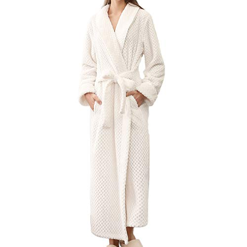 iTLOTL Women's Winter Sleepwear Lengthened Bathrobe Home Clothes Shawl Long Sleeved Robe Coat(White(Woman),XL)
