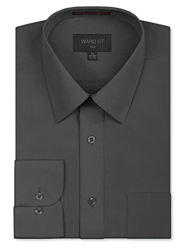 Ward St Men's Regular Fit Dress Shirts, Medium, 15-15.5N 32/33S, Charcoal