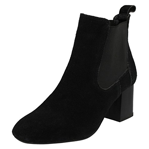 Ladies Leather Collection Mid Heel Twin Gusset Ankle Boots F50657 Black