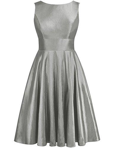 JAEDEN Simple de dama vestidos satén corto vestido de prom vestido sin espalda con Bow gris