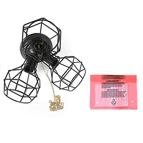 LALUZ 3-Light Wire Cage Ceiling Lighting with Pull String, Industry Close to Ceiling Light Fixture by LALUZ (Image #7)