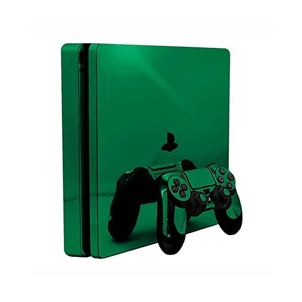 Green Chrome Mirror Vinyl Decal Faceplate Mod Skin Kit for Sony PlayStation 4 Slim (PS4S) Console by System Skins 1