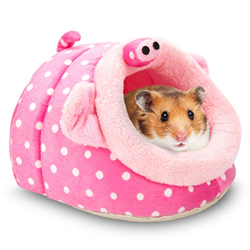 Hollypet Warm Small Pet Animals Bed Dutch Pig Hamster Cotton Nest Hedgehog Rat Chinchilla Guinea Habitat Mini House, Pink Pig
