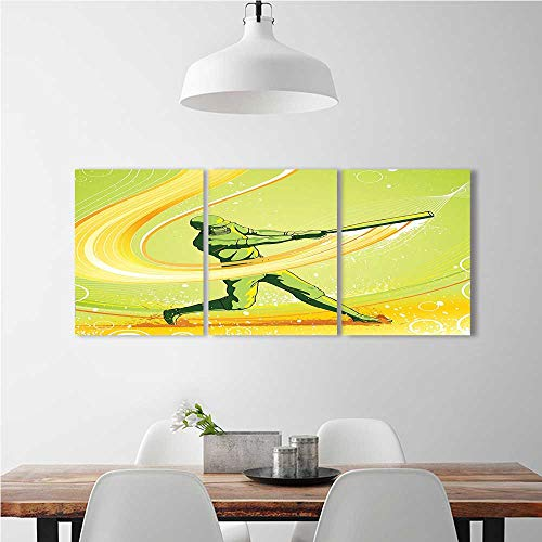 aolankaili Color 3 Piece Wall Art Painting Frameless Player Hits The Ball Batter Athlete Pitcher League Team Man Artsy Green Yellow Hotel Office Decor Gift Piece W14 x H30 x 3pcs