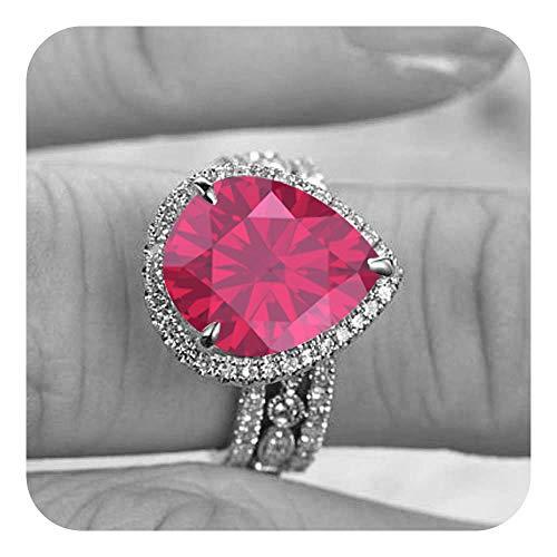 Dabangjewels 9x12 Pear Cut Created Pink Ruby & Diamond 14k Plated Wedding Anniversary 3Pcs Bridal Band Ring Set for Women