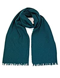 GIULIA BIONDI 100% made in Italy Wool Cashmere Scarf Shawl Wrap Stole Natural Colors Long Large Warm Soft for Women and Men (Green)