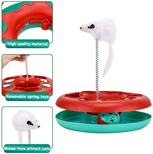 Interactive Cat Toys Tracks Roller Catch Ball Pet Kitten Fun Toy with Teaser Mouse Exercise 3