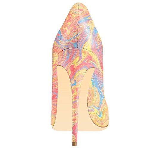 Fsj Kvinder Mode Højhælede Stiletter Pegede Tå Pumps Aftenkjole Trykt Sko Størrelse 4-15 Os Akvarel lVigQa3zbr