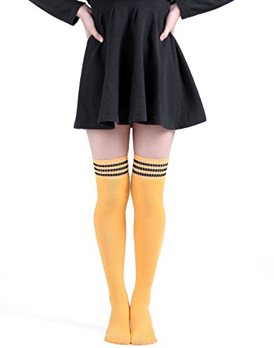 HDE Women Three Stripe Over Knee High Socks Extra Long Athletic Sport Tube Socks (Yellow/Black)]()