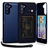 TORU CX PRO Note 10 Wallet Case Blue with Hidden Credit Card Holder ID Slot Hard Cover, Strap, Mirror & USB Adapter for Samsung Galaxy Note 10 (2019) - Navy Blue