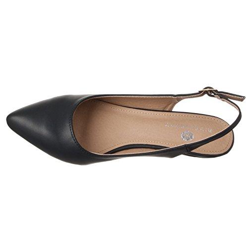 Women's Heels Toe Pointed Height Bella Pump Pu Riverberry Black Low Back Sling dzaqg6xw7