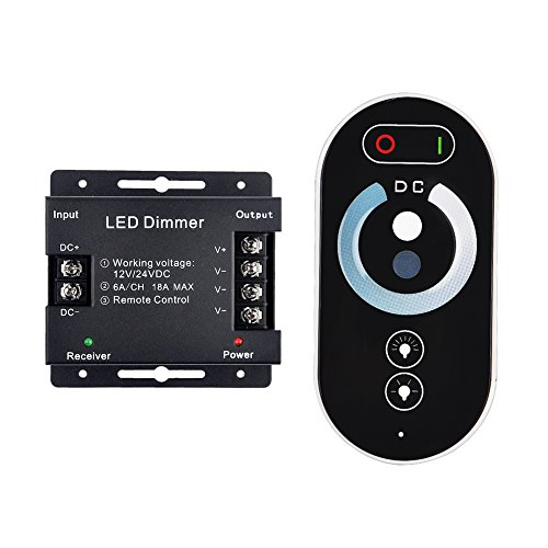 LED TOUCH Dimmer Control,RF Wireless Control Brightness LED Dimmer Switch,INHDBOX LED Strips Dimmer PWM 12/24V to 18A Touch RF Remote Controller Regulator