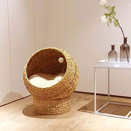 Cream color 50x57cm cream color 50x57cm ZUOZUOZUO Pet Universal Removable And Washable Cat Climbing Frame House Cat Litter Rattan Four Seasons Cat Litter Cat Bed Beige 50X57Cm