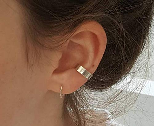 GOLD XIONG PADISHAN Wide Silver Ear Cuff Smooth - Sterling Silver Adjustable No Piercing Ear Cuff - Minimalist Ear Cuff