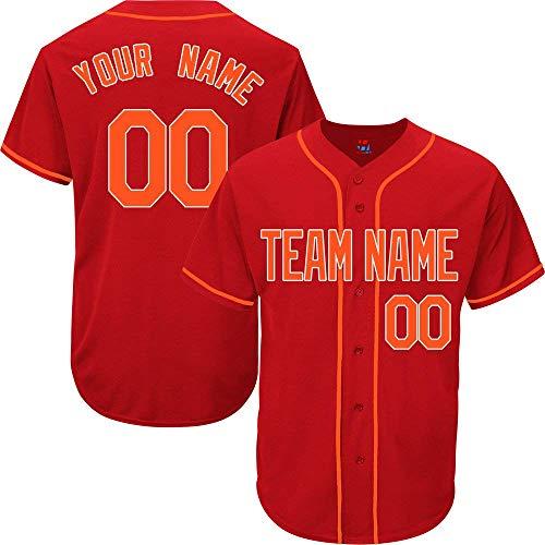 (SEVEN-S Red Custom Baseball Jersey for Men Women Youth Practice Embroidered Orange White)
