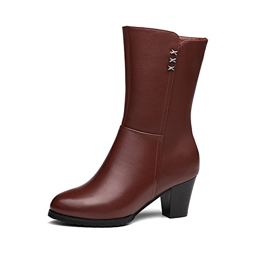 Scarpe inverno Stivali spessa 38 cotone colore Tip Heeled Aemember stivali High Toe eleganti marrone di donne female scuro di Stivali Donna wfExdF