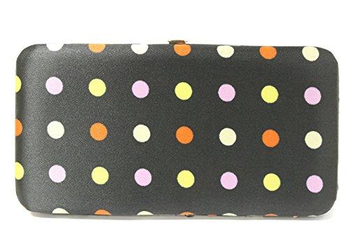 WOMEN FLAT OPERA WALLET CLUTCH BY DESIGNSK (Black Multi-Color Polka Dot) - Flat Opera Wallet