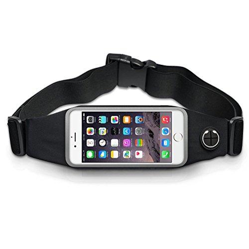 [Sport Hüfttasche] Elastische Lauftasche/ Laufgürtel /Outdoor Bauchtasche für iPhone SE /5S /5 /6 /6S /6 Plus/7, Samsung Galaxy - Running Belt/Gürteltasche für Smartphone Handy im Schwarz- Jogging Sport Gürtel tasche mit Reflexstreifen