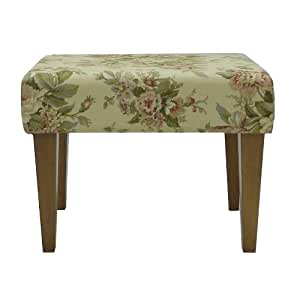 Carolina Cottage Bridgewater Antique Floral Sweetheart Bench with Walnut Tapered Legs