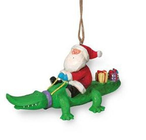 ing Alligator Gator with Gifts Holiday Christmas Ornament ()