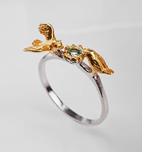Aquamarine Ring Dainty Birthstone March bird 925 sterling silver handmade jewelry Mother's day gift ()