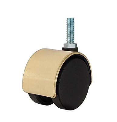 """Twin Wheel Caster Solutions TWHN-50N-M23-BR 2"""" Diameter Nylon Wheel Hooded Non-Brake Caster, 8 mm x 25 mm Threaded Stem, 110 lb Capacity Range"""