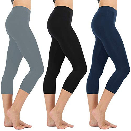(High Waisted Soft CapriLeggingsforWomen-Tummy Control-One/Plus Size 20+Design  (Black/Navy/Gray, ONE Size (US 2-12)))
