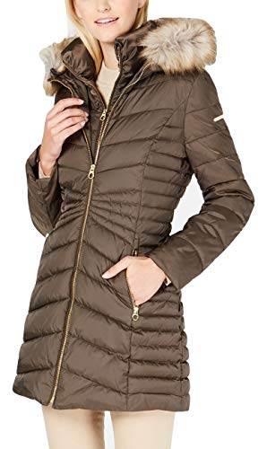 Laundry Coat Quilted (Laundry by Shelli Segal Faux-Fur-Trim Hooded Quilted-Panel Puffer Coat Black (XL))