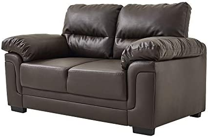Panana 3 Seater Corner Sofa in Faux Leather Modern Sofa Settee Couch for Living Room Office Lounge (Brown, 3 Seater)
