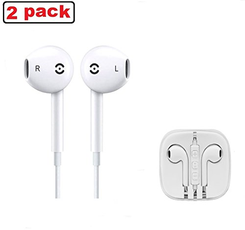 2 PACK 3.5mm Zaili Earphones/Earbuds/Headphones with Stereo Mic & Remote Control for apple iPhone 6s/6s Plus/6/6 Plus/5/5S/5c/SE,iPad,iPod.[White]