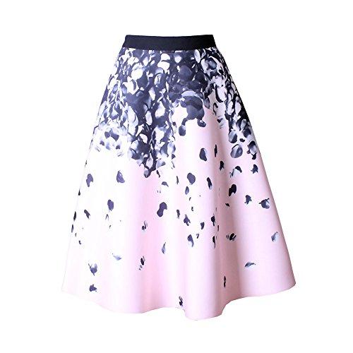 Mena UK Mujeres 50s Vintage Impreso Floral Swing Full Circle Retro Faldas Plisadas ( Color : 8312-Black , Tamaño : One Size ) 8312Pink