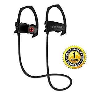 Bluetooth Headphones, Accering Running Wireless Sports Headset Stereo In-Ear Neckband Noise Cancelling and IPX5 Sweatproof Earbuds w/ Mic